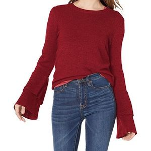 J. Crew Mercantile Red Bell Sleeve Sweater Size XS